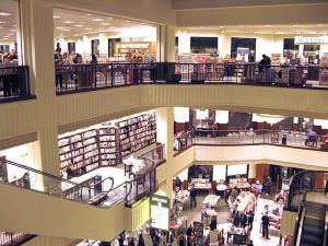 A lot can happen in five minutes, even in a book store. (image via Wikimedia)