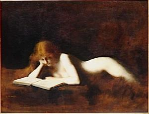 This is considered tasteful because she's reading a book. (image via wikimedia)